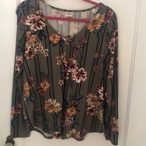 Floral long sleeve casual blouse